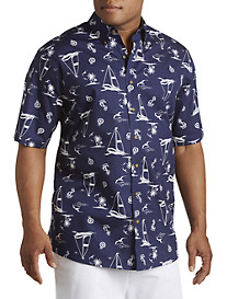 Harbor Bay® Nautical Boat Print Sport Shirt